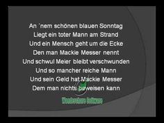 Drei Groschenoper - Moritat -  Mack the Knife -  MACKIE MESSER von Wolfg...