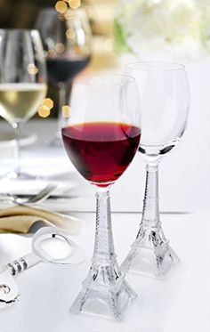 NEW Vintage Eiffel Tower Flute Wine Glass set of 2 >>> Check out the image by visiting the link.Note:It is affiliate link to Amazon.