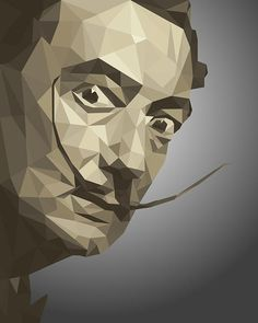 Glenn Alcabaza - Low-Poly portrait Salvador Dali. Retrato de Salvador Dalí al estilo Low Poly