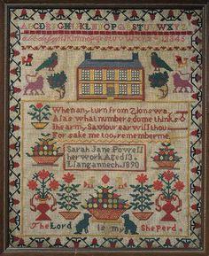 Sampler (motifs, verse & alphabet), made in Llangennech, 1890 ::: Gathering the Jewels