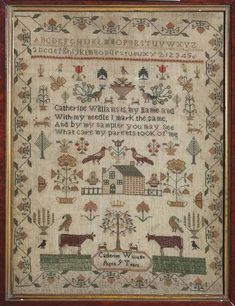 Sampler (motifs, alphabet & verse), made in Aberdare, c. 1855 ::: Gathering the Jewels