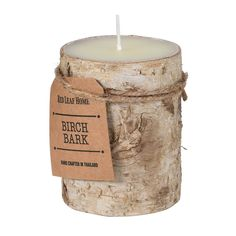 Birch Bark Pillar Candle, Small | Xmas - Barker & Stonehouse