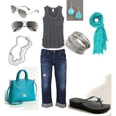 Wish   Fun Summer Turquoise Jean Capri Outfit