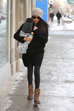 Meghan Markle wearing Kamik Sienna Boots and B Yoga B Mat in Charcoal
