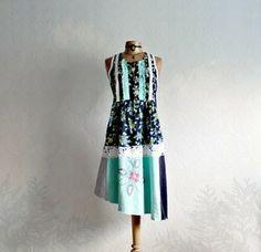 Navy Blue Aqua Floral Women's Sundress Bohemian Dress Shabby Upcycled Summer Dress S