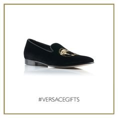 Boost your next cocktail party by wearing these iconic #Versace Medusa velvet slippers. #VersaceMenswear #VersaceGifts