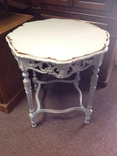 Beautiful French shabby chic hall table, lamp table. Carved detail really made this piece, it turned out awesome!