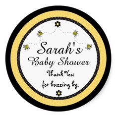 Cute Bumble Bees Baby Shower Thank You Stickers #beethemed #babyshower #stickers #custom