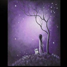 Fairy Paintings Painting - Original Fairy Artwork By Shawna Erback by Erback Art Fantasy Kunst, Fantasy Art, Fine Art Amerika, Illustrations, Illustration Art, Graffiti Kunst, Fairy Paintings, Fantasy Paintings, Purple Art