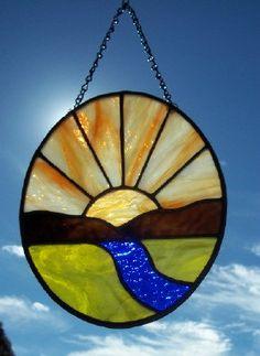 Sunrise Sunset Stained Glass Suncatcher - easy gift idea