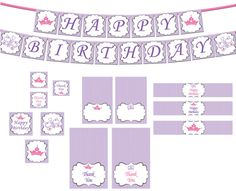 Princess Birthday Decorations Package INSTANT DOWNLOAD DIY - Purple Princess Crowns Butterflies - Girls Birthday Party