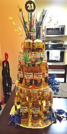Beer cake for my friend& A total of 24 beers. - Beer cake for my friend& A total of 24 beers. Birthday Cakes For Men, Birthday Box, Birthday Parties, 21st Birthday Gifts For Guys, 25th Birthday Ideas For Him, Birthday Decorations For Men, 21st Gifts, 21st Birthday Crafts, 21st Birthday Drinks