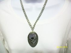 Item 1739-Upcycle Tablespoon Necklace with Skeleton Head. Sells for $10.00. Get a link to my Website ecrater.com at the top of my Page and order with Pay Pal. FREE SHIPPING AND HANDLING