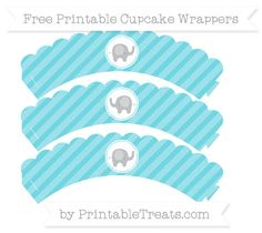 Free Pastel Teal Diagonal Striped Baby Elephant Scalloped Cupcake Wrappers