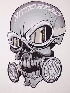 Nitro Head Skull trailer Window Decal Decals Sticker NHRA Drag Racing top fuel by SuperbDecalsLLC on Etsy