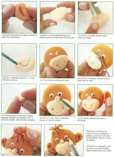 how to make a flat fondant monkey