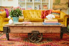 Yellow chesterfield! - Eclectic Decorating Ideas | POPSUGAR Home