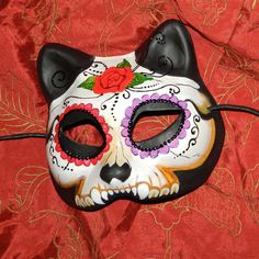 Mask Cat Day of the Dead Mask Dia de Los Muertos Kitty. $45.00, via Etsy.