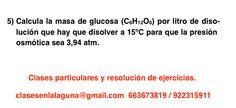 Ejercicio 5 propuesto de Presión Osmótica. Química 1º Bachillerato