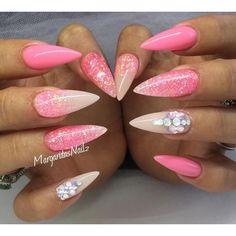 Pink stiletto nails spring summer 2016 nail art glitter ombré