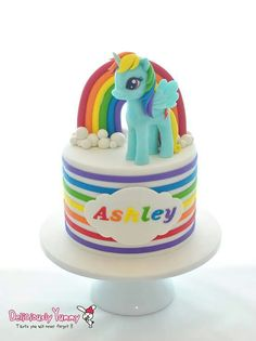 Lovely Blue Pony with Rainbow Cake, Lovely & Beautiful.  ❤