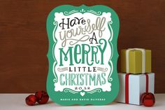 Merry Typography Holiday Non-Photo Cards by Alethe...   Minted