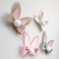 This adorable bunny bow, is perfect for any Easter outfit. Classic white bunny ears with a pink inside sit on a matching bow with a cute puffy white tail. Bow come attached to your choice of grosgrain lined alligator clip, one size nylon band, or a 1/8 skinny elastic headband. If
