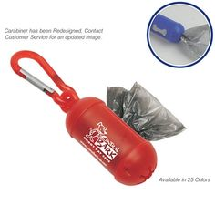 Cool! Available in 25 Colors! Promotional Doggy Bag Dispenser with Carabiner | Customized Dog Bag Dispensers