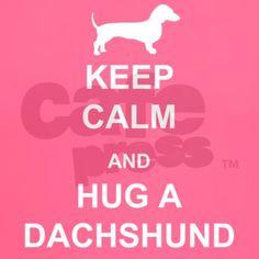 Dachshund - Keep Calm and Hug a Dachshund T-Shirt by TheDachshundShop