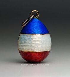 FABERGE Antique Russian Guilloche Enamel Egg Pendant
