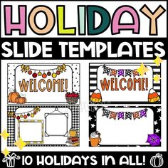 Do you need PowerPoint or Google Slides for your classroom or distance learning? Stay festive with these bright and beautiful Holiday Slide Templates for your classroom. This is a growing bundle! The price will go up with every holiday added. Perfect for your preschool, kindergarten, elementary or middle school distance learning classroom! Distance learning classroom. Distance learning teacher resources. Google slides templates for teachers distance learning. #googleclassroom… Fall Classroom Decorations, Kindergarten Classroom Decor, Holiday Classrooms, Preschool Bulletin Boards, High School Classroom, Classroom Walls, Future Classroom, Google Classroom, Classroom Ideas