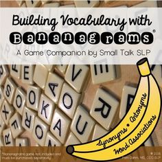 My middle schoolers LOVE playing Bananagrams so I designed this game companion to target vocabulary skills to make the game even more a-PEEL-ing!This game companion features a set of game and score cards that turns word-making fun into a challenge to name synonyms, antonyms, word associations and build sentences using the words students create with the Bananagram letter tiles.Students create word grids, crossword-style and then use these words to play a game.