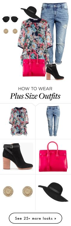 """plus size/spring eclectic"" by kristie-payne on Polyvore featuring H&M, Gozzip, Madewell, Yves Saint Laurent, 3.1 Phillip Lim, River Island, Topshop, women's clothing, women and female"