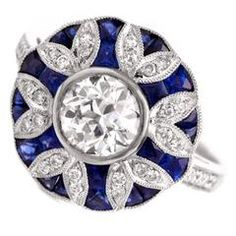 Sapphire Diamond Platinum Floral Engagement Ring