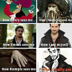 OUAT/Once Upon A Time/OUAT funny/Captain Hook/Killian Jones/The Jolly Roger. Its the funnest to see how they see him