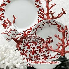 | P | Red Coral porcelain dinnerware dishes collection is stylized with a variation of red coral designs