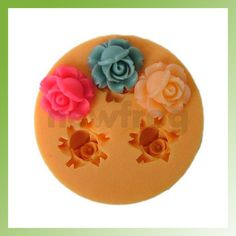 Silicone 3 Cavity Peony Chocolate Mold Maker Jello Handmade Soap Candle Mould