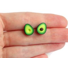 Green miniature avocado ear studs stud earrings asymmetric pair healthy food superfood funny earrings