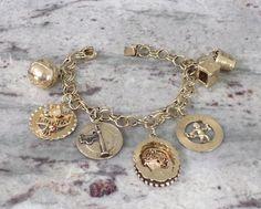 14k Yellow Gold Vintage Charm Bracelet Mother Wine Champagne