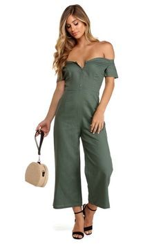 5908672a7a0 Green Button Like You Jumpsuit Bodice