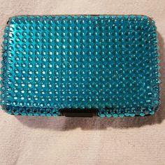 Blue rhinestone card holder Metal frame strong , Blue rhinestone s on top very classy. Accessories Key & Card Holders