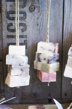 Hand-made soaps displayed in vintage crates on rope