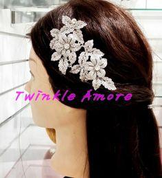 Bridal Wedding Swarovski Crystal Leaves & Flowers Silver Tone Hair Comb.HM-0034