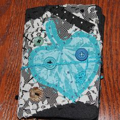 Mini Fabric Art Journal Leaf Turquoise Quilted by FruitOfMyHands, $9.50