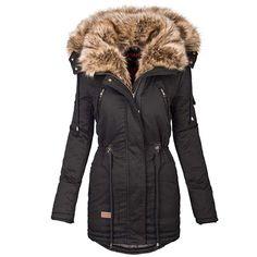 Da Donna Designer Cappotto Invernale Inverno Giacca Parka Teddy PELLICCIA ECOPELLE Maniche d-373