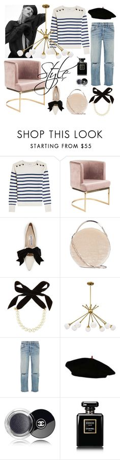 """""""style"""" by sonitsa ❤ liked on Polyvore featuring Closed, Manolo Blahnik, Eddie Borgo, Lulu Frost, George Kovacs by Minka, GRLFRND, Chanel and french"""