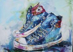Chuck Taylors, Shops, Converse Shoes, Etsy Shop, Vintage, Painting, Schmuck, Tents, Painting Art