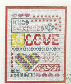 Love Sampler Valentine Totes Cross Stitch Pattern Pages Hugs Kisses Hearts   eBay