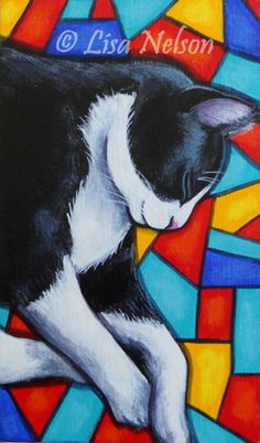 Original Black and White Sleeping Tuxedo Cat on by LisaNelsonArt, $42.00