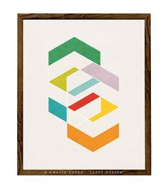 Spring 3. Geometric art print Scandinavian print by LatteDesign